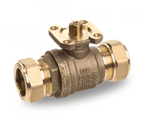 "S468E22U RuB Inc. Drinking Water Ball Valve - DZR and Lead Free - Brass - 3/4"" Compression End x 3/4"" Compression End - ISO 5211 Actuator Flange"