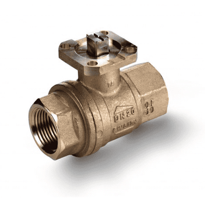 "S64D39 RuB Inc. Ball Valve For Actuation - Brass - 1/2"" Female NPT x 1/2"" Female NPT - with Stainless Steel Trim"