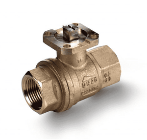 "S64F39A RuB Inc. Ball Valve For Actuation - Low Torque - Brass - 1"" Female NPT x 1"" Female NPT - with Stainless Steel Trim"