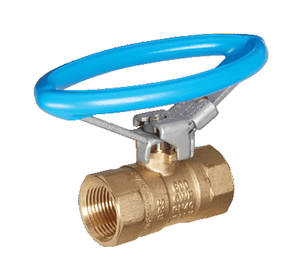 "S71H43 RuB Inc. Standard Port 2-Way Ball Valve - Brass - 1-1/2"" Female NPT x 1-1/2"" Female NPT with Oval Handle"
