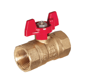 "S71E46 RuB Inc. Standard Port 2-Way Ball Valve - Brass - 3/4"" Female NPT x 3/4"" Female NPT with Red Aluminum T-Handle"