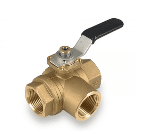 "S72D41L RuB Inc. 3-Way L-Port Horizontal Fitted Ball Valve - Brass - 1/2"" Female NPT x 1/2"" Female NPT x  1/2"" Female NPT with Black Handle & Blocking System"