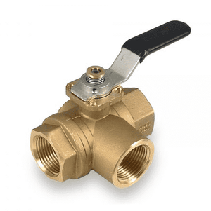 "S73E41L RuB Inc. 3-Way T-Port Horizontal Fitted Ball Valve - Brass - 3/4"" Female NPT x 3/4"" Female NPT x  3/4"" Female NPT with Black Handle & Blocking System"