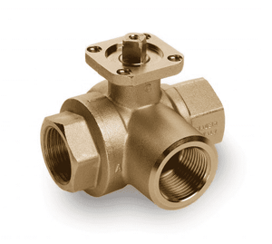 "S73F41 RuB Inc. 3-Way T-Port For Diverting Ball Valve For Actuation - Brass - 1"" Female NPT x 1"" Female NPT x 1"" Female NPT"