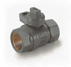 "S80F41G RuB Inc. Gas Service Ball Valve - Gas Meter Cock - Brass - 1"" Female NPT x 1"" Female NPT with Grey Painted Body"