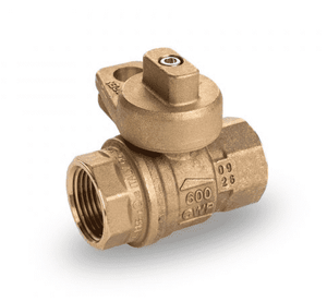 "S80F41 RuB Inc. Gas Service Ball Valve - Gas Meter Cock - Brass - 1"" Female NPT x 1"" Female NPT with Unplated Body"