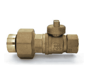 "S80G43 RuB Inc. Gas Service Ball Valve - Union Dielectric Gas Meter Cock - Brass - 1-1/4"" Female NPT x 1-1/4"" Female NPT"