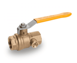 "S82H41 RuB Inc. Gas Service Side Drain Ball Valve - Brass - 1-1/2"" Female NPT x 1-1/2"" Female NPT - with Yellow Steel Handle"