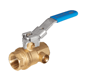 "S82H45 RuB Inc. Gas Service Side Drain Ball Valve - Brass - 1-1/2"" Female NPT x 1-1/2"" Female NPT - with Lockable Handle"