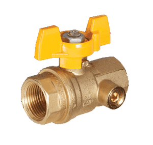 "S82D46 RuB Inc. Gas Service Side Drain Ball Valve - Brass - 1/2"" Female NPT x 1/2"" Female NPT - with Yellow Aluminum T-Handle"