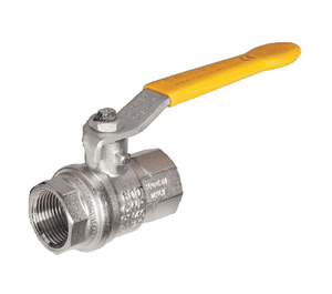 "S84G50 RuB Inc. Metric Threaded Full Port Ball Valve - Nickel Plated Brass - 1-1/4"" Female BSPT x 1-1/4"" Female BSPT - with Yellow Steel Handle"