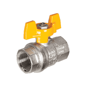 "S84C56 RuB Inc. Metric Threaded Full Port Ball Valve - Nickel Plated Brass - 3/8"" Female BSPT x 3/8"" Female BSPT - with Yellow Aluminum T-Handle"