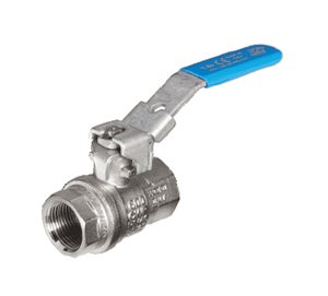 "S84I59 RuB Inc. Metric Threaded Full Port Ball Valve - Nickel Plated Brass - 2"" Female BSPT x 2"" Female BSPT - with Blue Lockable Handle"