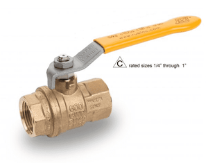 "S92B41 RuB Inc. Full Port 2-Way Ball Valve - Brass - 1/4"" Female NPT x 1/4"" Female NPT with Yellow Steel Handle"