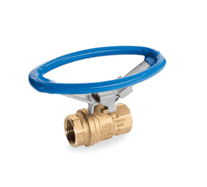 "S92B43 RuB Inc. Full Port 2-Way Ball Valve - Brass - 1/4"" Female NPT x 1/4"" Female NPT with Blue Oval Lockable Handle"