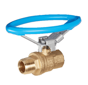 "S92C44 RuB Inc. Full Port 2-Way Ball Valve - Brass - 3/8"" Male NPT x 3/8"" Female NPT Blue Oval Lockable Handle"
