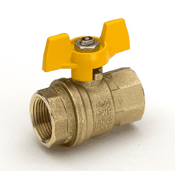 "S92B46 RuB Inc. Full Port 2-Way Ball Valve - Brass - 1/4"" Female NPT x 1/4"" Female NPT with Yellow Aluminum T-Handle"