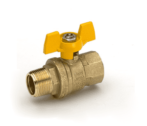"S92B47 RuB Inc. Full Port 2-Way Ball Valve - Brass - 1/4"" Male NPT x 1/4"" Female NPT with Aluminum T-Handle"