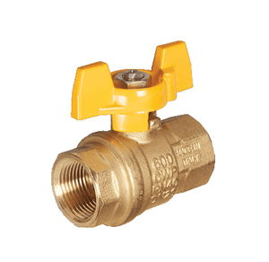 "S92BF8 RuB Inc. Full Port 2-Way Ball Valve - Brass - 1/4"" Female NPT x 1/4"" Female NPT with Stainless Steel Ball and Stem with Yellow Aluminum T-Handle"