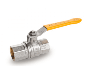 "S95N41 RuB Inc. Full Port 2-Way Ball Valve - Brass - 4"" Female NPT x 4"" Female NPT with Yellow Steel Handle"