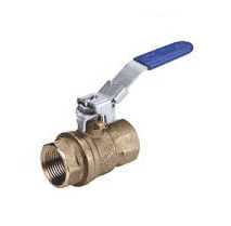"S95N45 RuB Inc. Full Port 2-Way Ball Valve - Brass - 4"" Female NPT x 4"" Female NPT with Blue Lockable Handle"