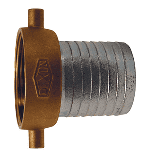 "SB22N Dixon 1-1/2"" King Short Shank Suction Female Coupling with NST (NH) Thread (Plated Iron Shanks with Brass Nut)"