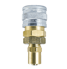 "BLSB5-4 ZSi-Foster Quick Disconnect 1-Way Manual Socket - 1/4"" ID x 9/16"" OD - Ball Lock, Brass/Steel - Reusable Hose Clamp"