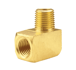 "SE3F2M Dixon Brass 90 Deg. Street Elbow - Extruded - 3/8"" Female NPTF x 1/4"" Male NPTF"
