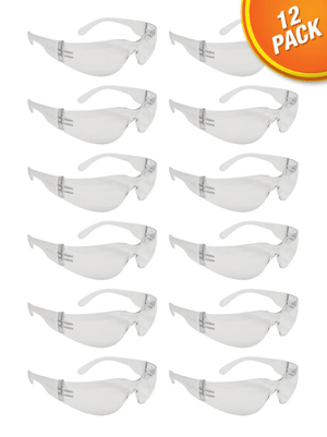 SG1012 Malta Dynamics Clear Frame Safety Glasses (12 Pack)