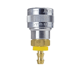 "SHD1513 ZSi-Foster Quick Disconnect SHD3 Series 1/4"" Automatic Socket - 1/4"" ID - Push-On Hose Stem - Aluminum/Steel/Brass"