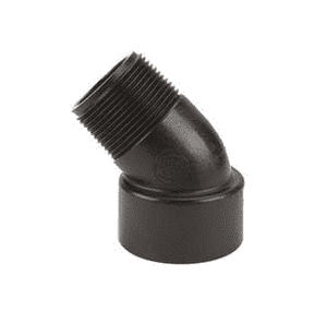 "SL150-45 Banjo Polypropylene 45 deg. Pipe Street Elbow - 1-1/2"" Female NPT x 1-1/2"" Male NPT - 150 PSI (Pack of 10)"
