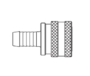 LL1S17 Eaton ST Series Female Socket - 1/8 Body Size - 1/4 Hose Stem End Connection Quick Disconnect Coupling - Buna-N Seal - 303 Stainless Steel