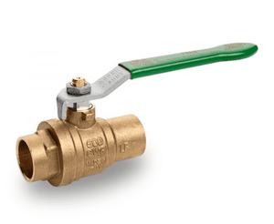 "T242F00 RuB Inc. PURI-T Series Drinking Water Ball Valve - Brass - 1"" Solder End x 1"" Solder End - with Green Steel Handle"
