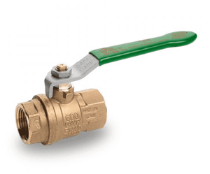 "T292H41 RuB Inc. PURI-T Series Drinking Water Ball Valve - Brass - 1-1/2"" Female NPT x 1-1/2"" Female NPT - with Green Steel Handle"