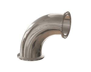 "T2CMP-200PL Dixon 2"" 316L Stainless Steel High Purity BioPharm 90 deg. Clamp x Clamp Elbow with a PL finish - SF1"