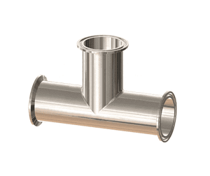 "T7MP-100PM Dixon 1"" 316L Stainless Steel High Purity BioPharm Clamp x Clamp x Clamp Tee with a PM finish - SF4"
