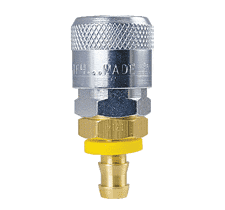 "TF1814 ZSi-Foster Quick Disconnect TF4 Series 3/8"" Automatic Socket - 1/2"" ID - Push-On Hose Stem - Brass/Steel"