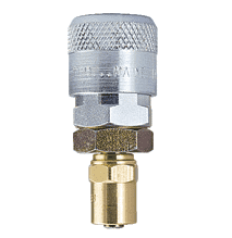 "TFSB34 ZSi-Foster Quick Disconnect TF4 Series 3/8"" Automatic Socket - 1/4"" ID x 1/2"" OD - Reusable Hose Clamp - Brass/Steel"