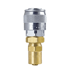 "TFSD7 ZSi-Foster Quick Disconnect TF Series 1/4"" Automatic Socket - 3/8"" ID x 5/8"" OD - Reusable Hose Clamp - Brass/Steel"