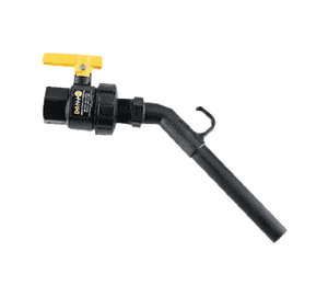 "UVA100FP Banjo Polypropylene Nozzle Valve with 45 deg. Elbow - 1"" Female NPT - 1"" Nozzle - 1"" Opening Thru Ball - 100 PSI"