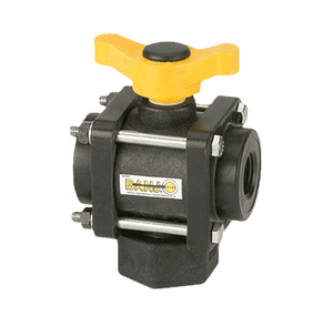"V075BL Banjo Polypropylene 3-Way Ball Valve - Bottom Load - 3/4"" Female NPT - Opening Thru Ball: 1"" - 100 PSI - T Handle"
