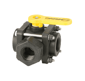 "V075SL Banjo Polypropylene 3-Way Ball Valve - Side Load - 3/4"" Female NPT - Opening Thru Ball: 1"" - 100 PSI - Straight Handle"