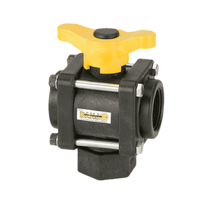 "V150BL Banjo Polypropylene 3-Way Ball Valve - Bottom Load - 1-1/2"" Female NPT - Opening Thru Ball: 1-1/2"" - 100 PSI - T Handle"