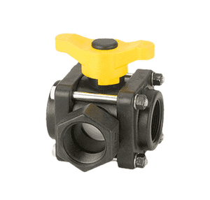 "V150SL Banjo Polypropylene 3-Way Ball Valve - Side Load - 1-1/2"" Female NPT - Opening Thru Ball: 1-1/2"" - 100 PSI - T Handle"