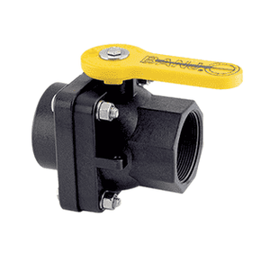 "VS204FP Banjo Polypropylene 2"" Full Port Ball Valve ""Stubby Valve"" - 2"" Female NPT x 2"" Female NPT - 2"" Opening Thru Ball - 100 PSI"