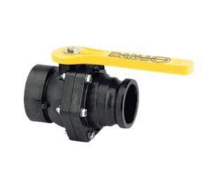 "VSF300 Banjo Polypropylene 3"" Standard Port Ball Valve ""Stubby Valve"" - 3"" Female NPT x 3"" Male Adapter - 2-1/2"" Opening Thru Ball - 100 PSI"