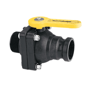 "VSFMT204FP Banjo Polypropylene 2"" Full Port Ball Valve ""Stubby Valve"" - 2"" Male Adapter x 2"" Male NPT - 2"" Opening Thru Ball - 100 PSI"