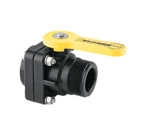 "VSMT200 Banjo Polypropylene 2"" Standard Port Ball Valve ""Stubby Valve"" - 2 "" Male NPT x 2"" Female NPT - 1-1/2"" Opening Thru Ball - 100 PSI"