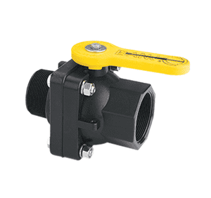 "VSMT204FP Banjo Polypropylene 2"" Full Port Ball Valve ""Stubby Valve"" - 2"" Male NPT x 2"" Female NPT - 2"" Opening Thru Ball - 100 PSI"