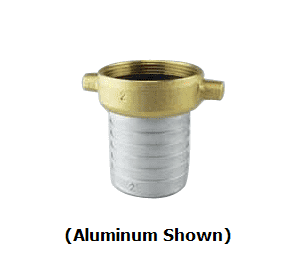 "BR600F Jason Industrial Brass Female Pin Lug Shank Coupling - 6"" - Hose Shank x NPSM Thread - with Brass Swivel"